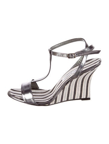 manolo blahnik striped wedge sandals shoes moo45342