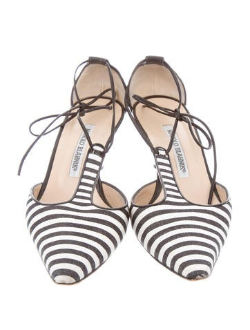 Woven Pointed-Toe Pumps