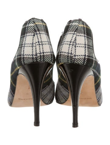 Peep-Toe Plaid Pumps