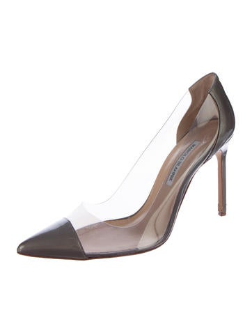 PVC-Patent Leather Pointed-Toe Pumps