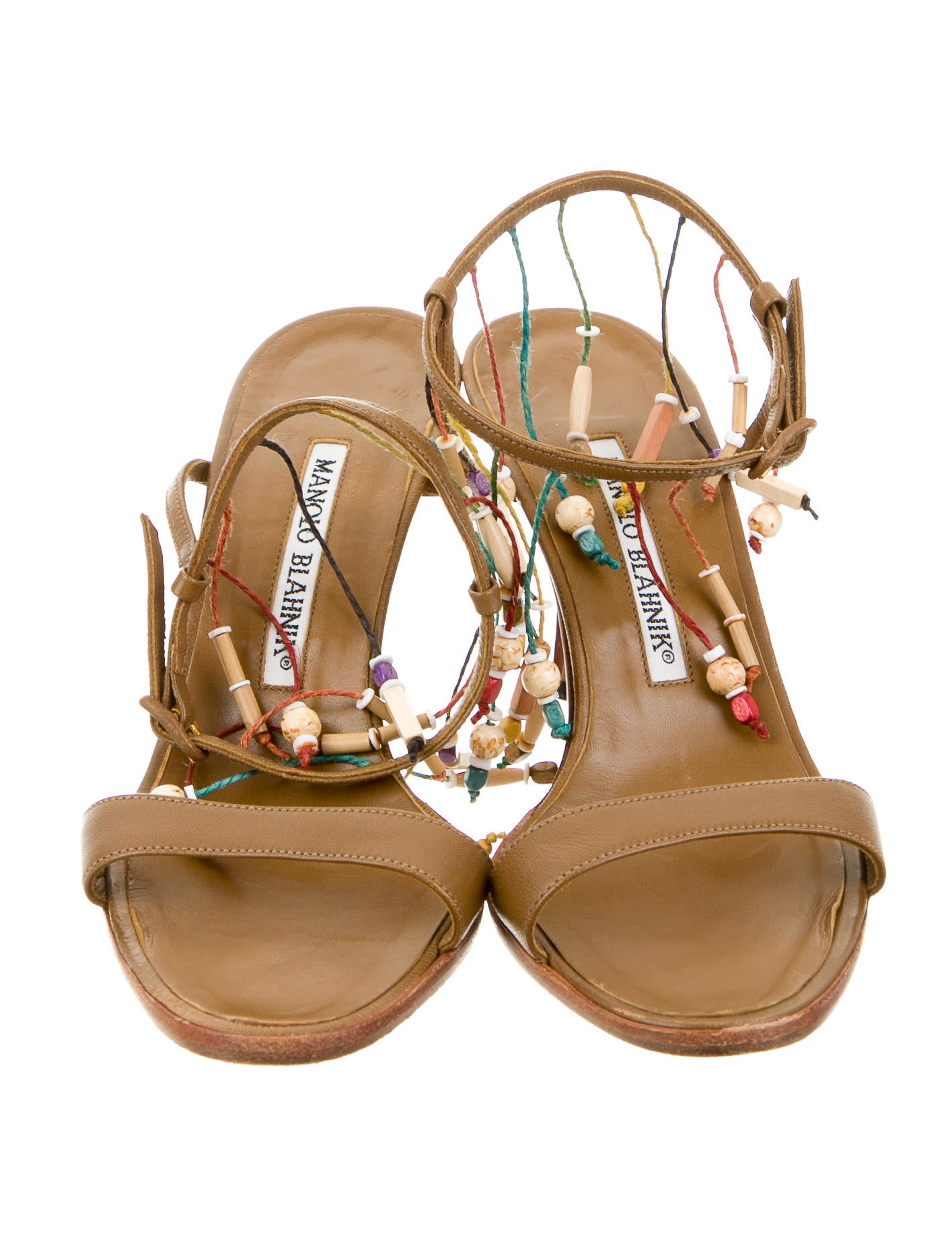 manolo blahnik beaded leather sandals shoes moo50322