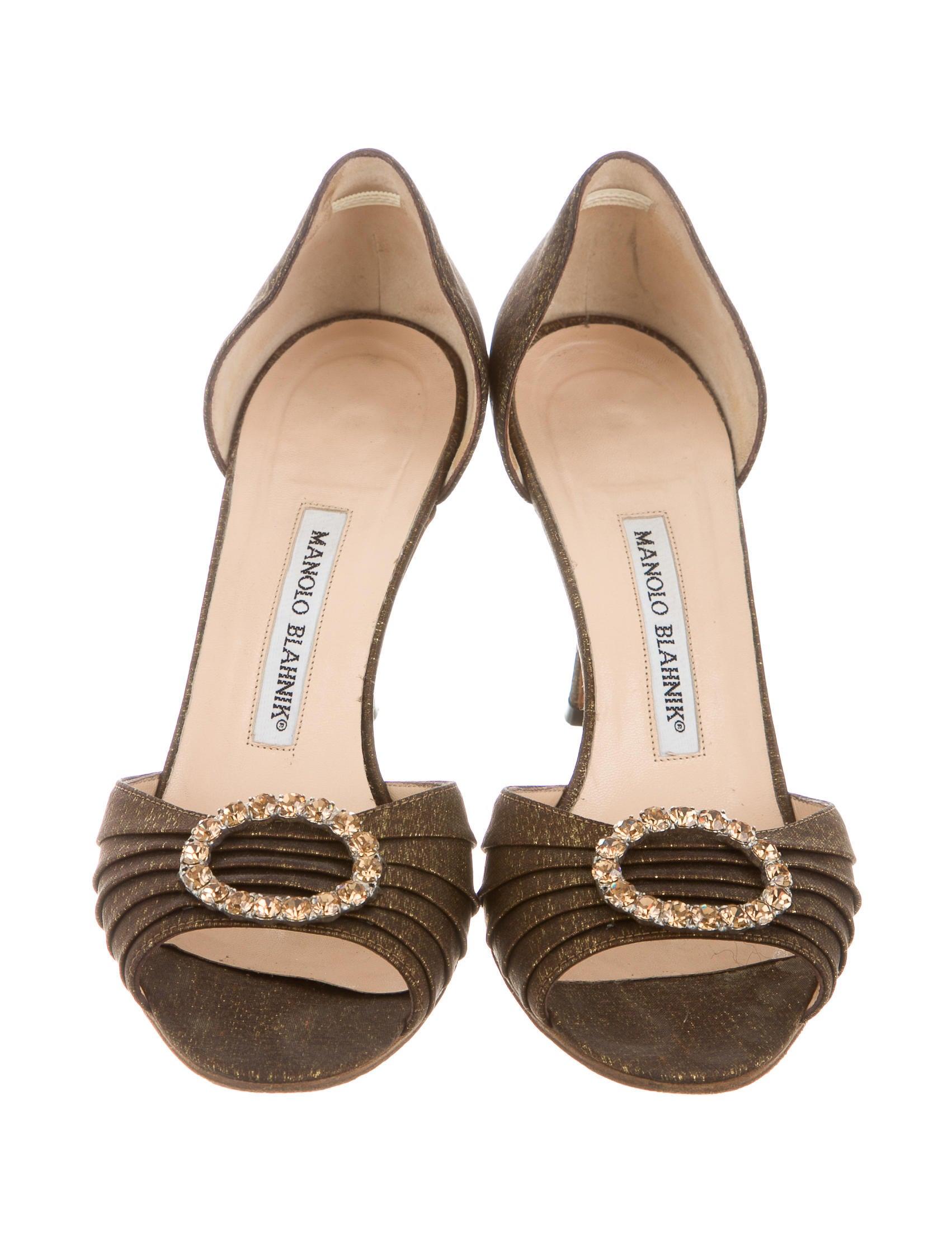 Manolo blahnik metallic peep toe pumps shoes moo51129 for Shoes by manolo blahnik