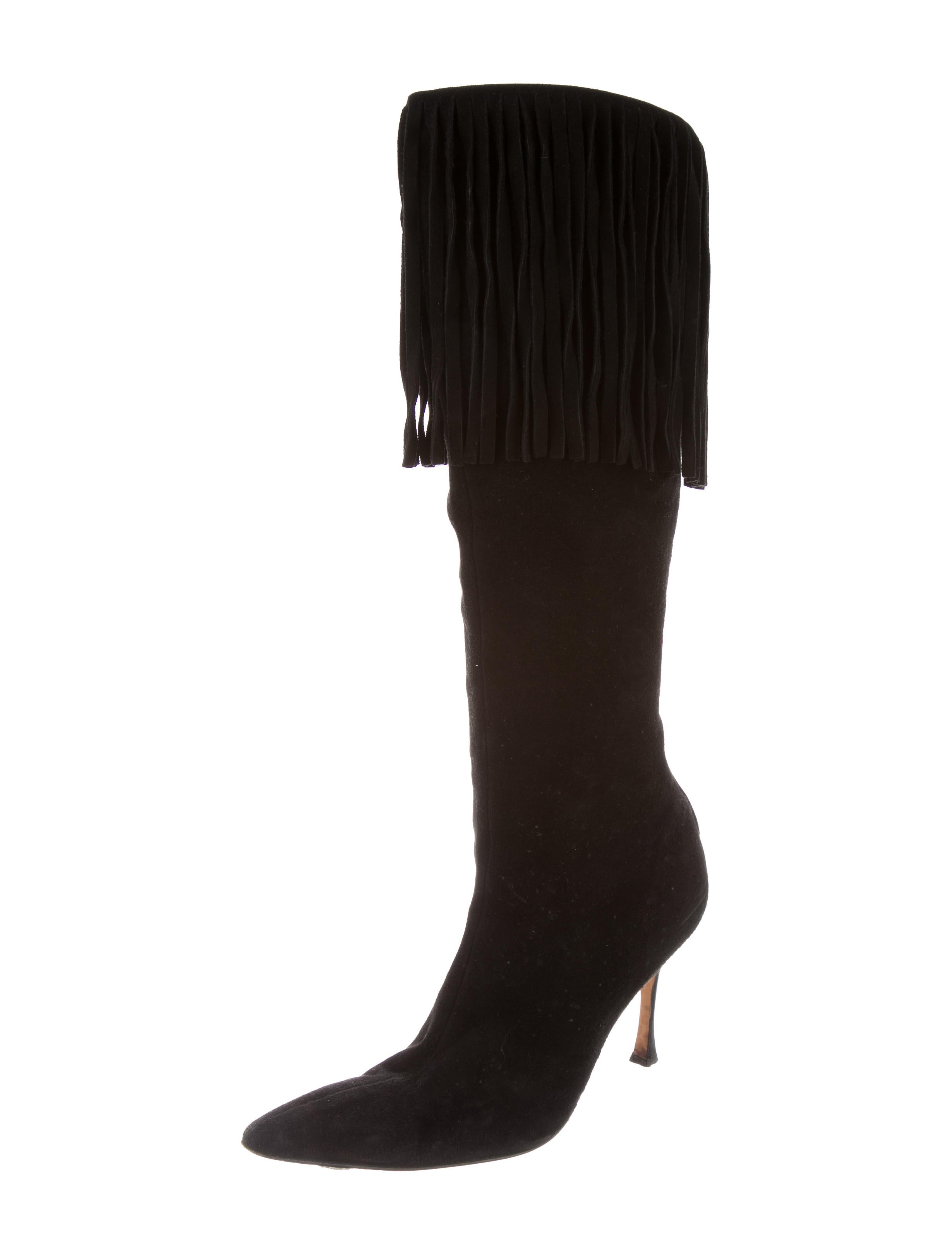 manolo blahnik fringe suede knee high boots shoes