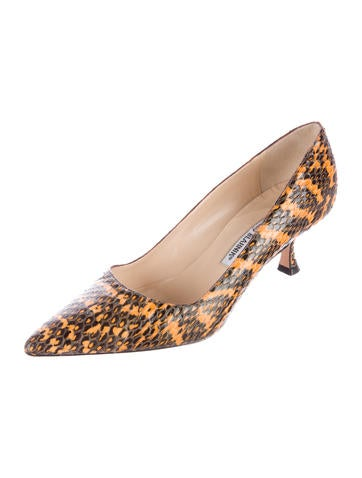 Snakeskin Pointed-Toe Pumps