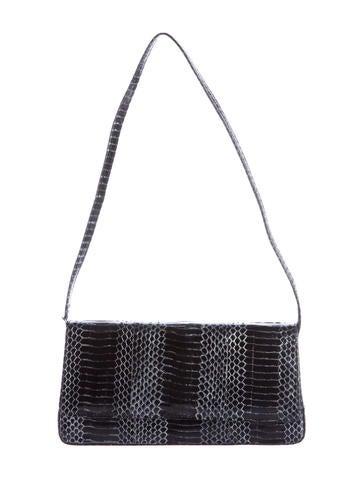 Manolo Blahnik Embossed Leather Flap Bag
