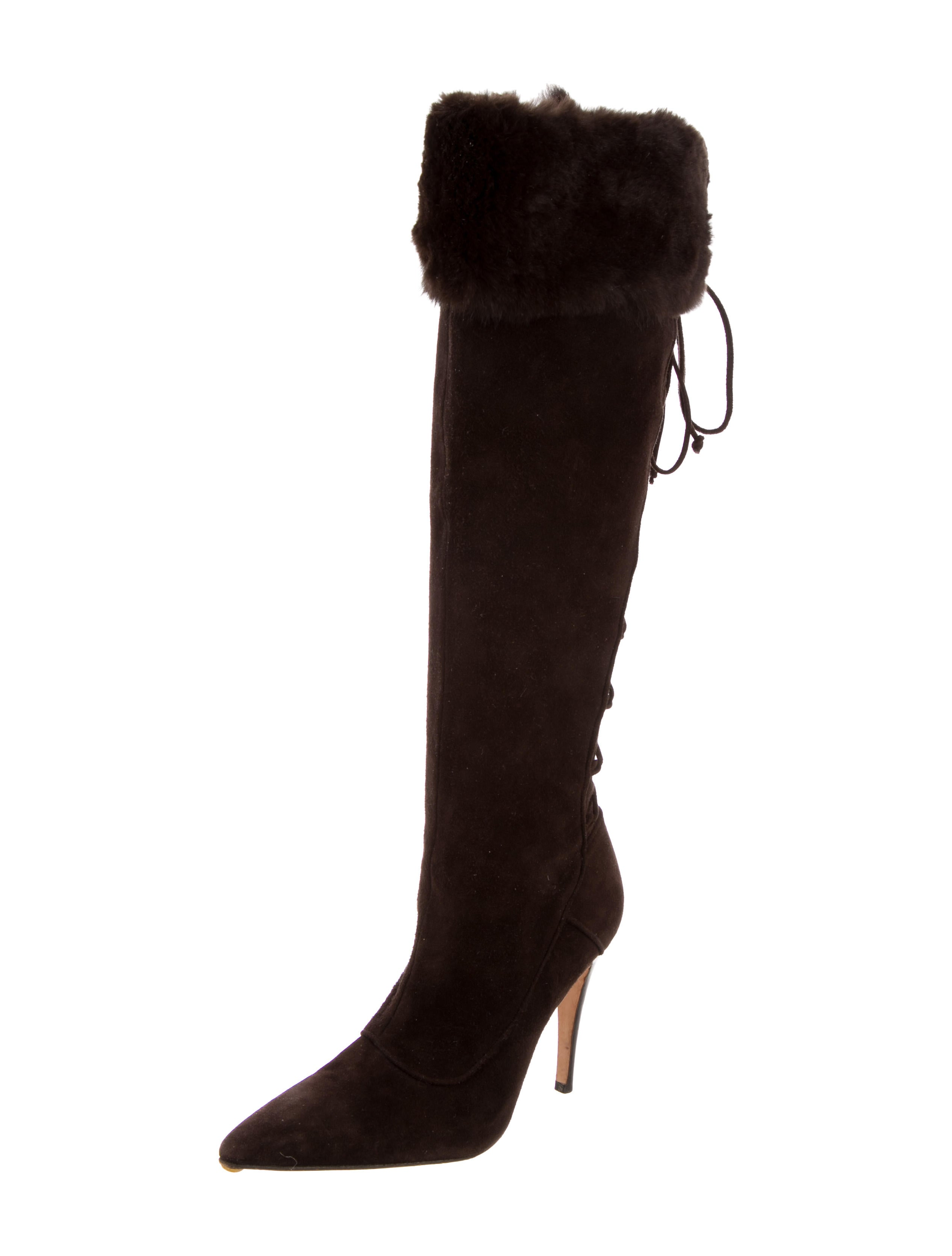 manolo blahnik fur trimmed suede boots shoes moo54818