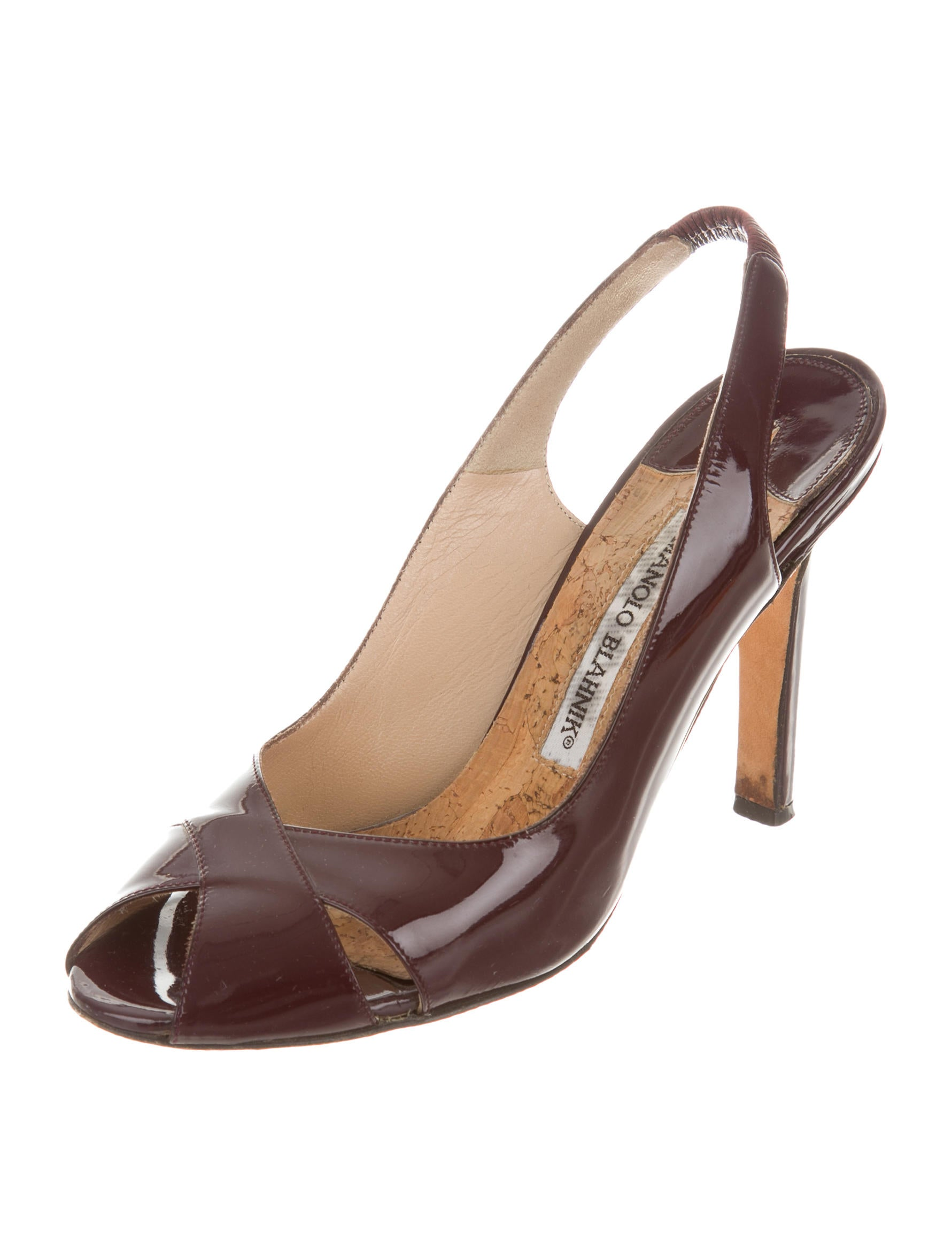 Manolo blahnik patent slingback sandals shoes moo55246 for Shoes by manolo blahnik