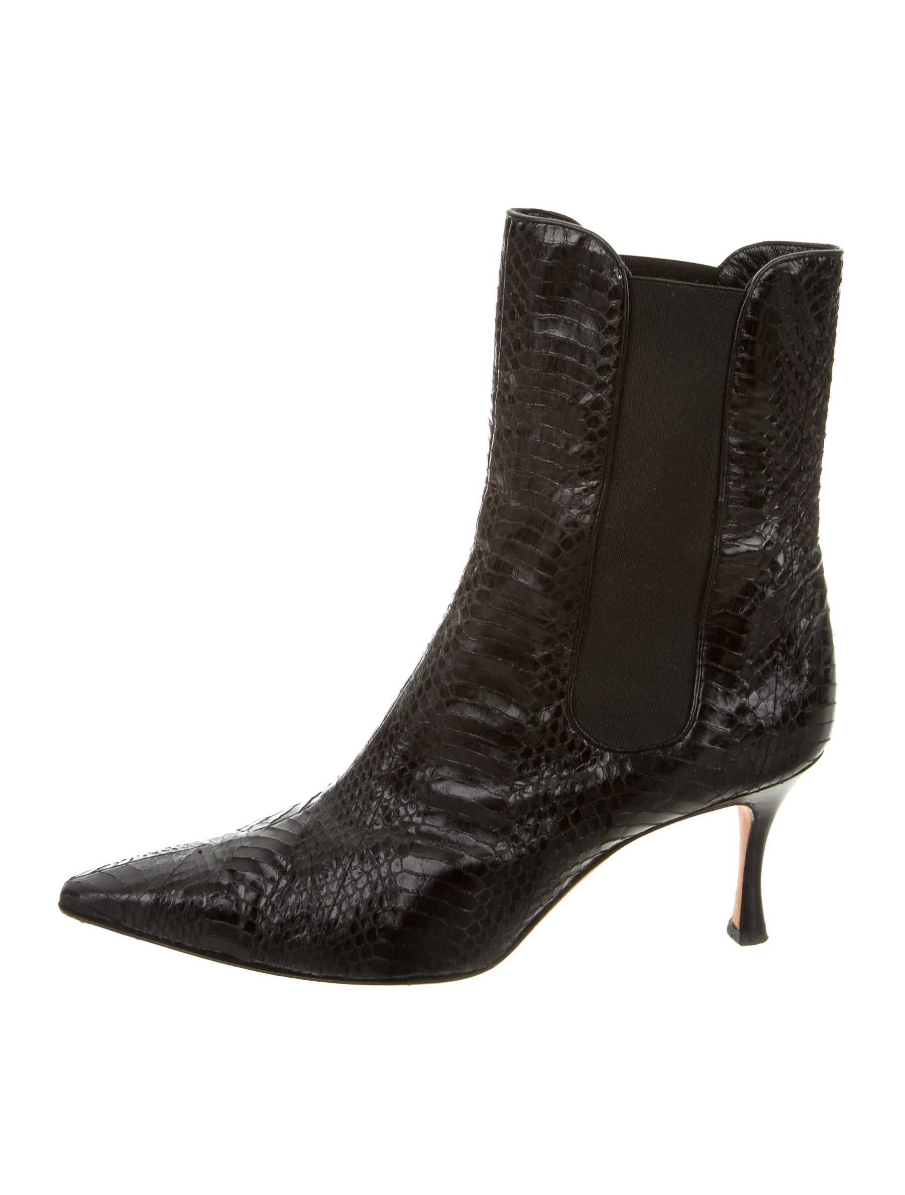 Manolo Blahnik Snakeskin Pointed-Toe Ankle Boots - Shoes ...