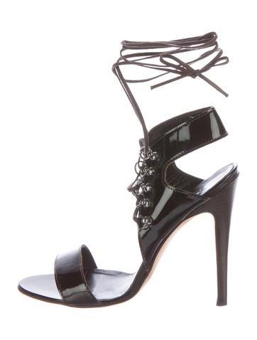 Manolo Blahnik Patent Leather Lace-Up Sandals