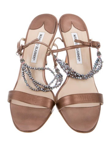 Leather Embellished Slingback Sandals