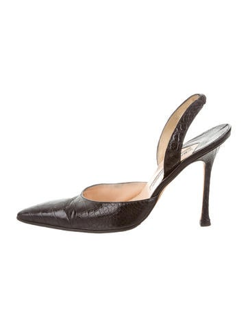 Manolo Blahnik Alligator Carolyne Pumps