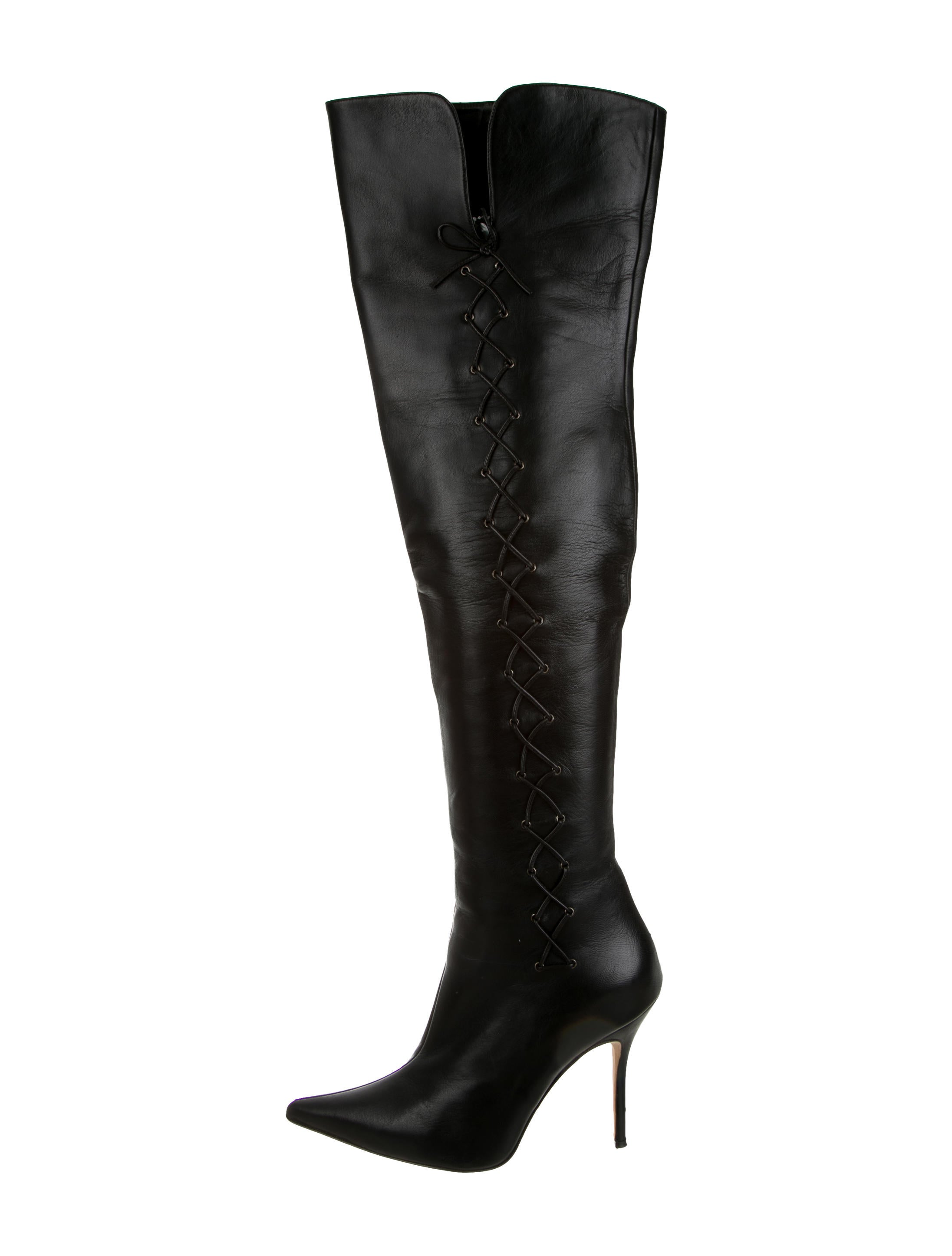 Manolo Blahnik Lace-Up Over-The-Knee Boots