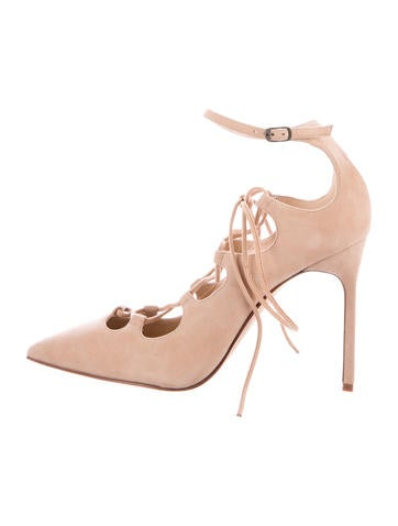 Manolo Blahnik Suede Lace-Up Pumps None