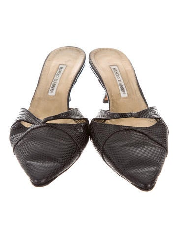 Lizard Pointed-Toe Mules