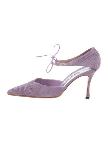 Pleated Ankle-Strap Pumps