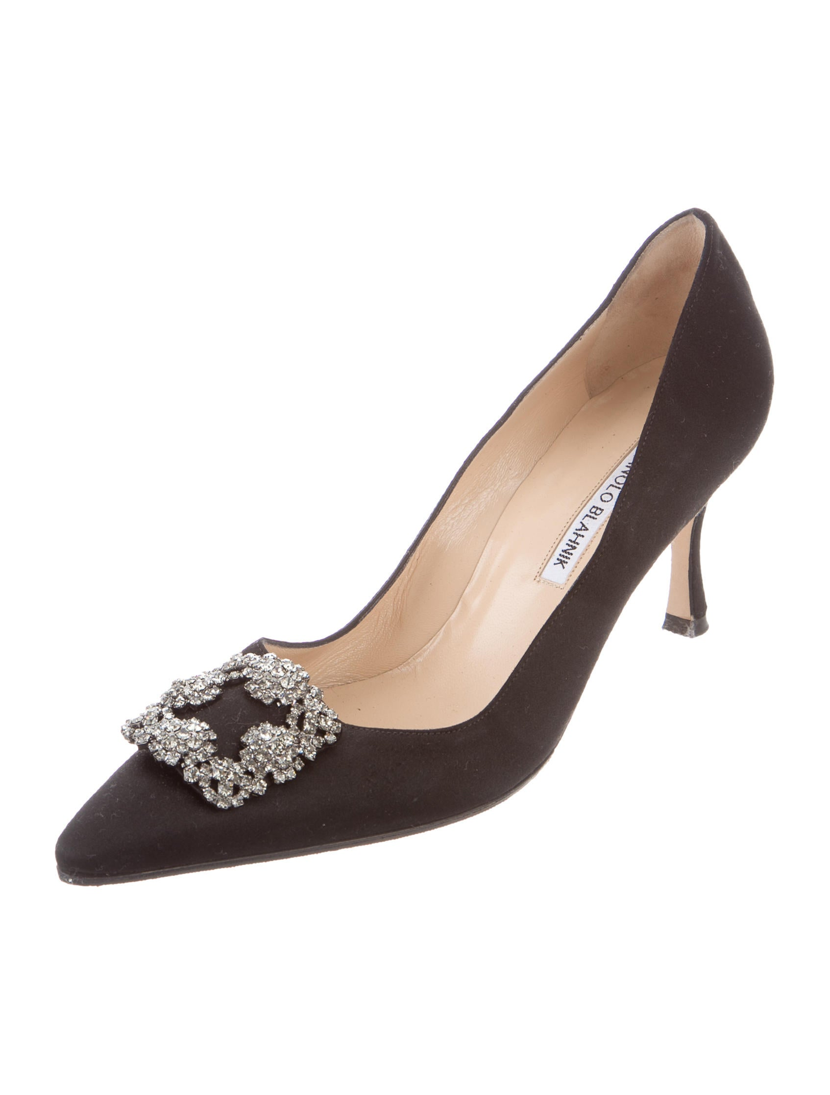 Manolo blahnik satin hangisi 70 pumps shoes moo57740 for Shoes by manolo blahnik