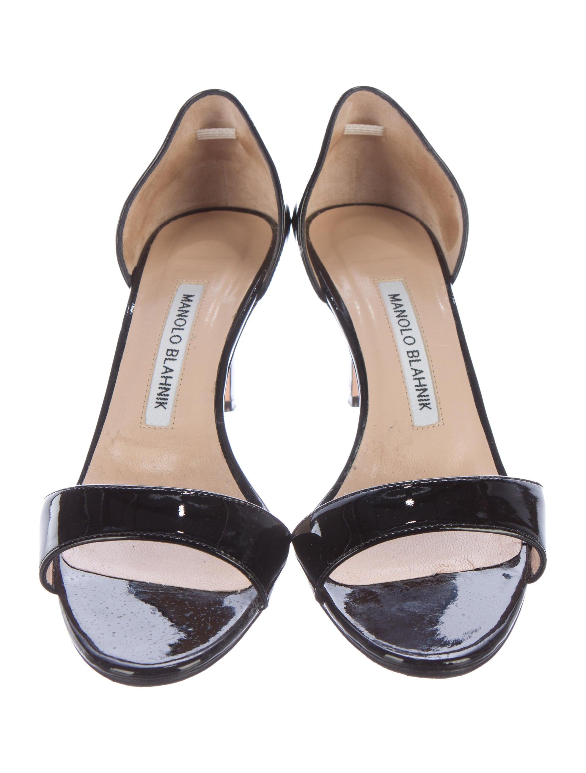 Manolo Blahnik Patent D Orsay Sandals Shoes Moo58839