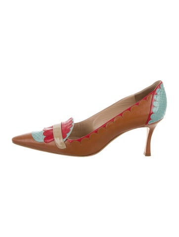 Multicolor Snakeskin-Accented Pumps