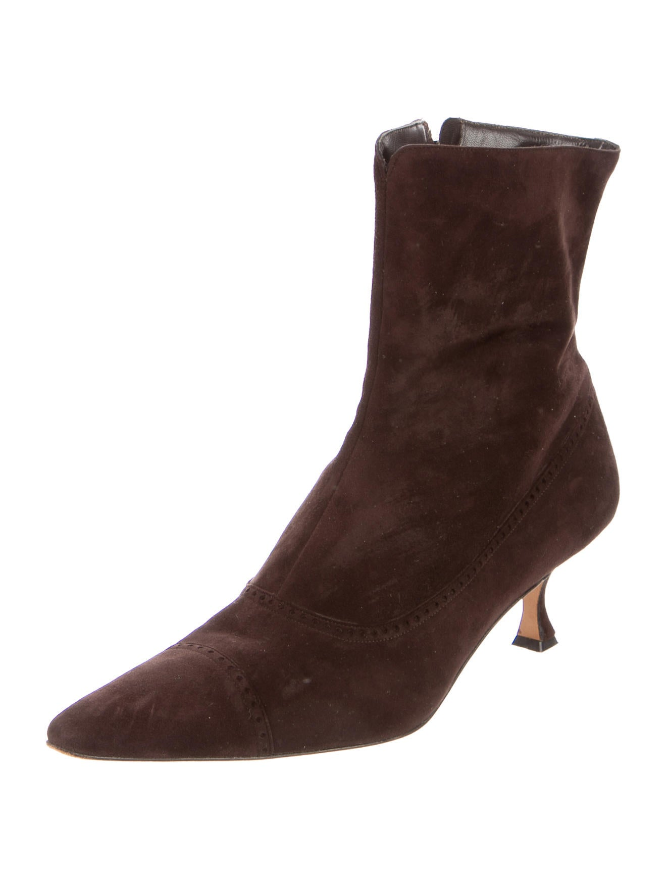 Manolo Blahnik Suede Pointed-Toe Ankle Boots - Shoes ...