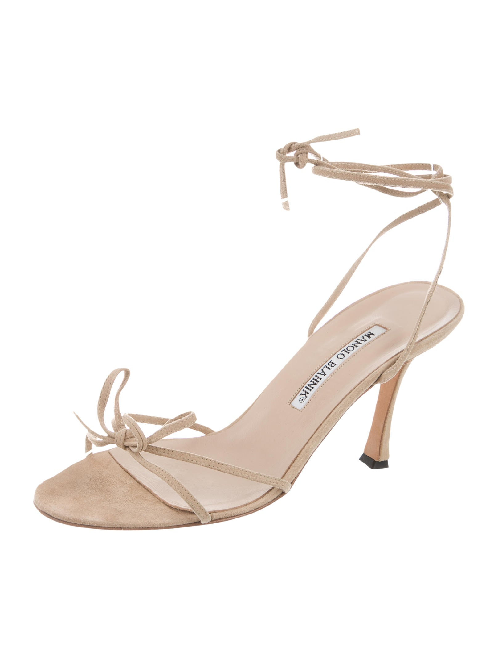 Manolo blahnik suede lace up sandals shoes moo60370 for Shoes by manolo blahnik