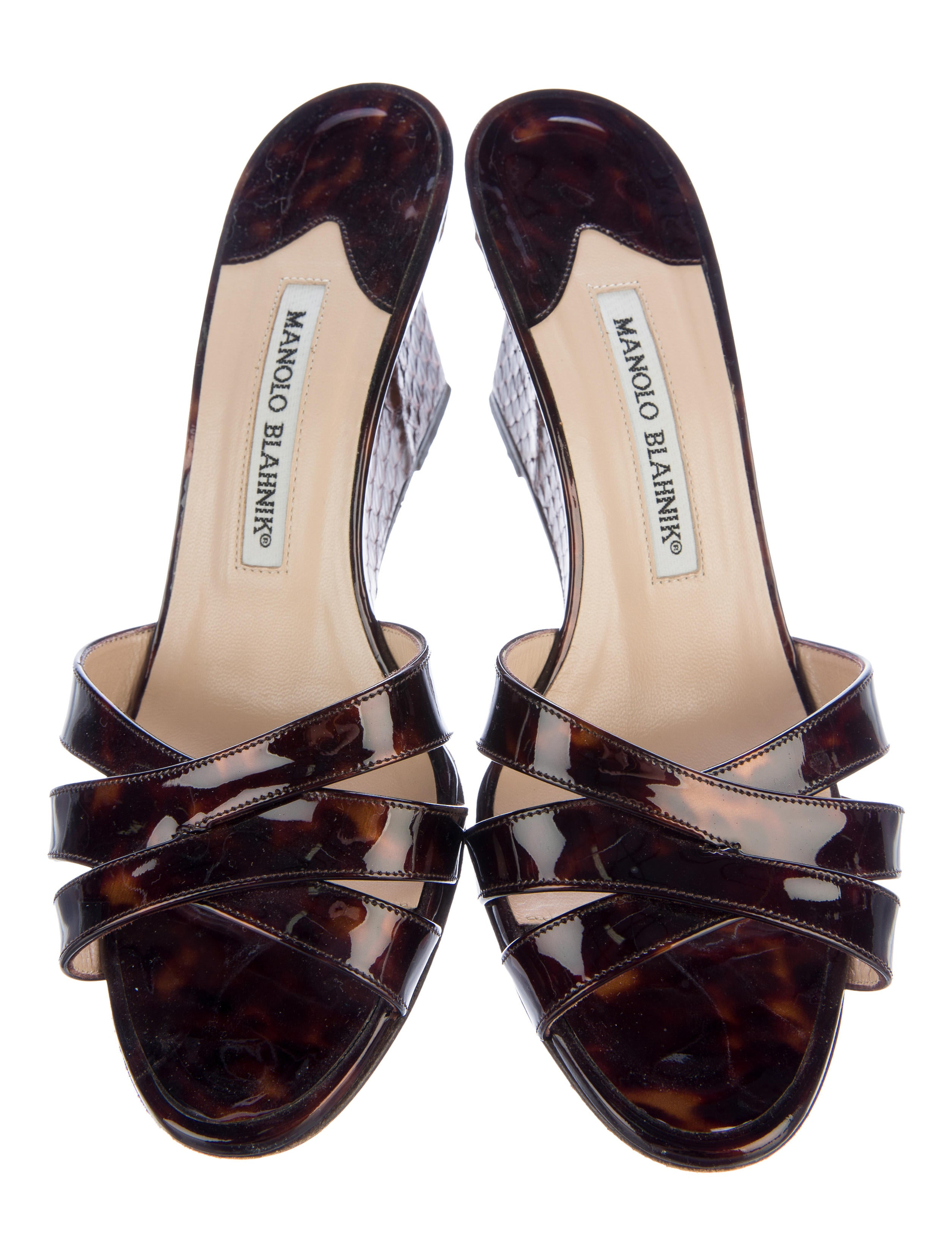 manolo blahnik snakeskin trimmed wedge sandals shoes
