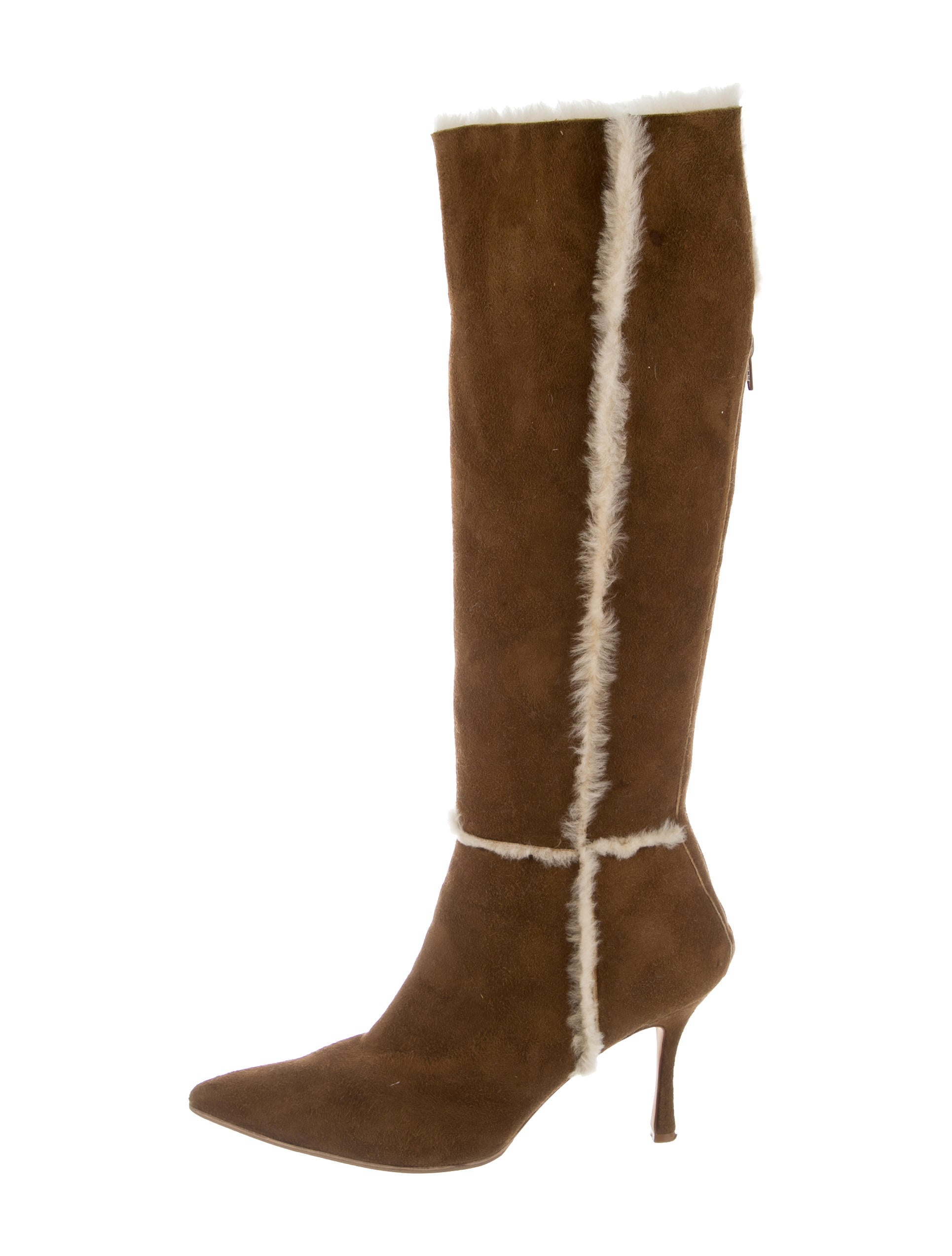 manolo blahnik knee high shearling boots shoes