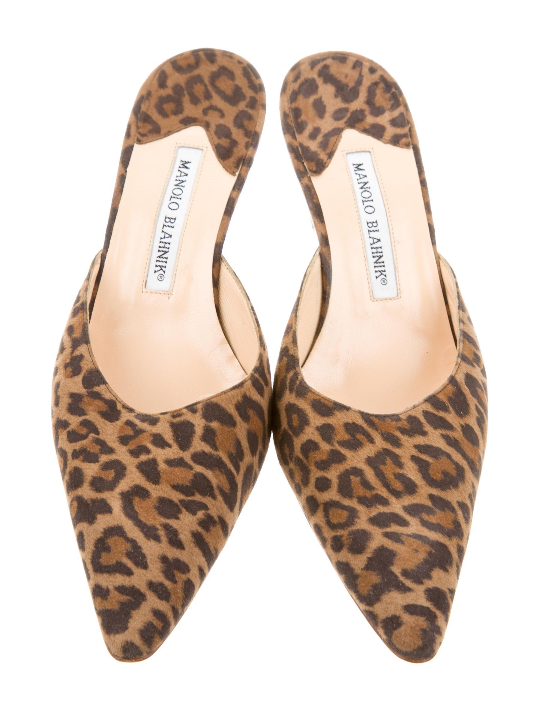 Manolo Blahnik Leopard Print Mules - Shoes - MOO60538 ...