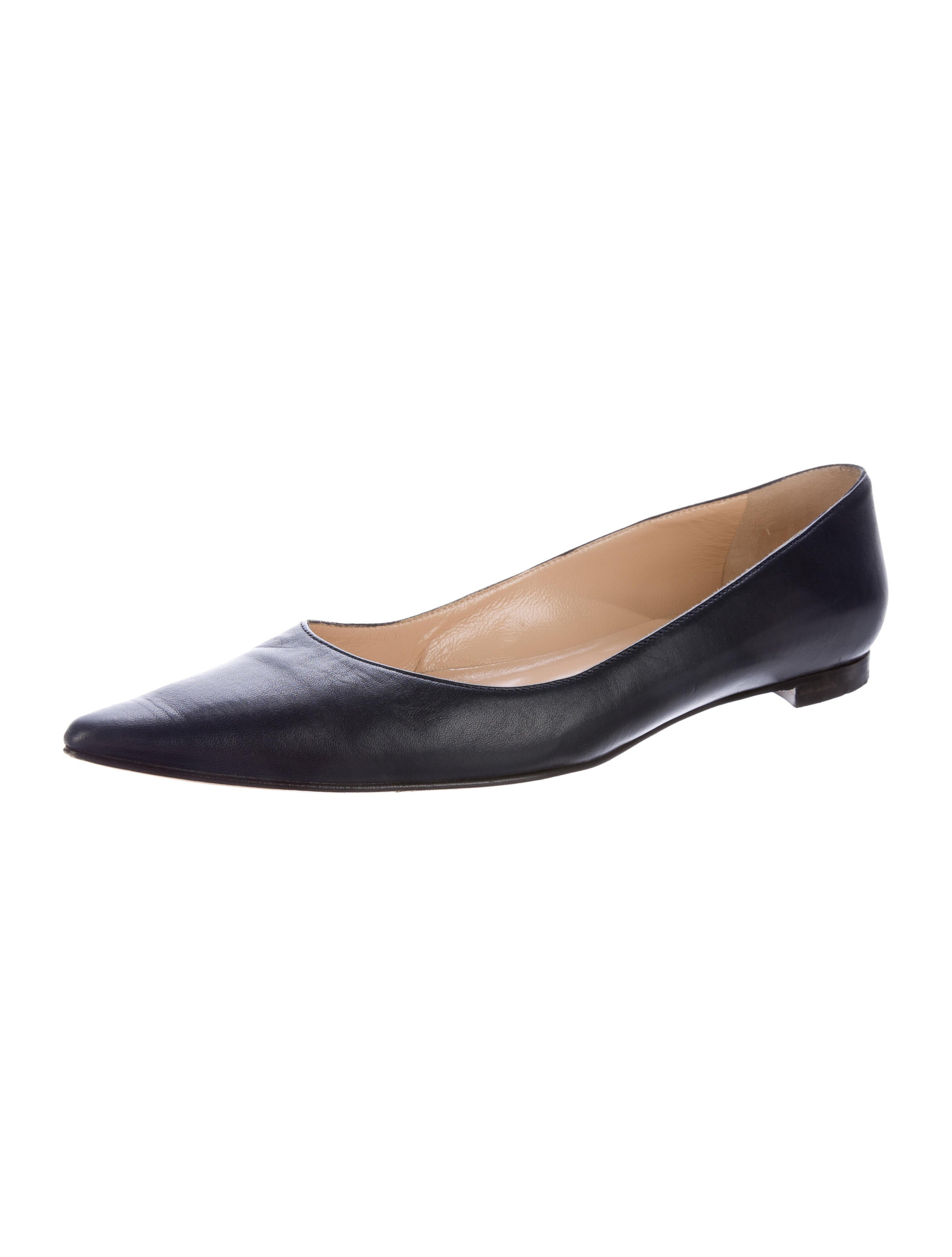 manolo blahnik leather pointed toe flats shoes