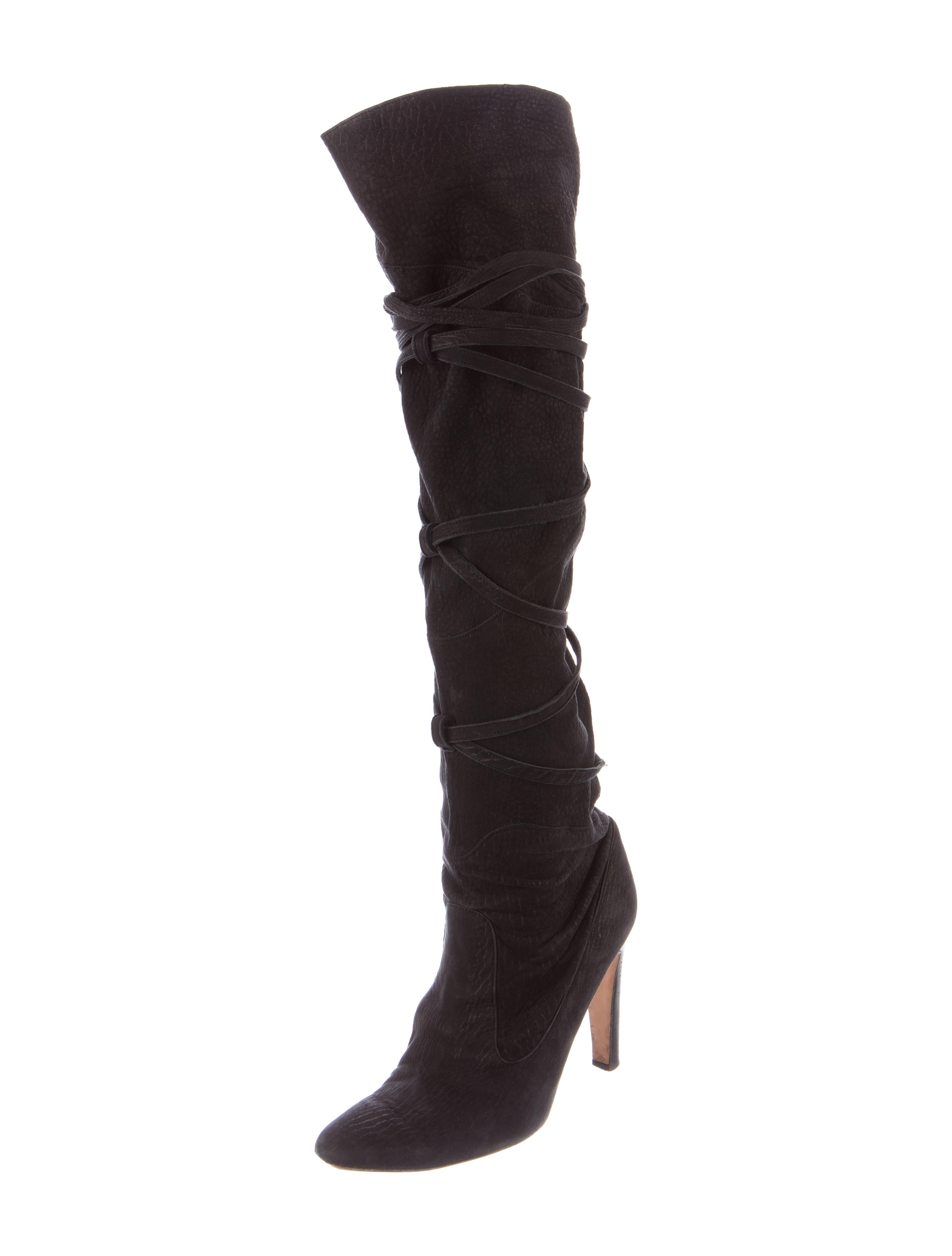 manolo blahnik suede leather the knee boots shoes