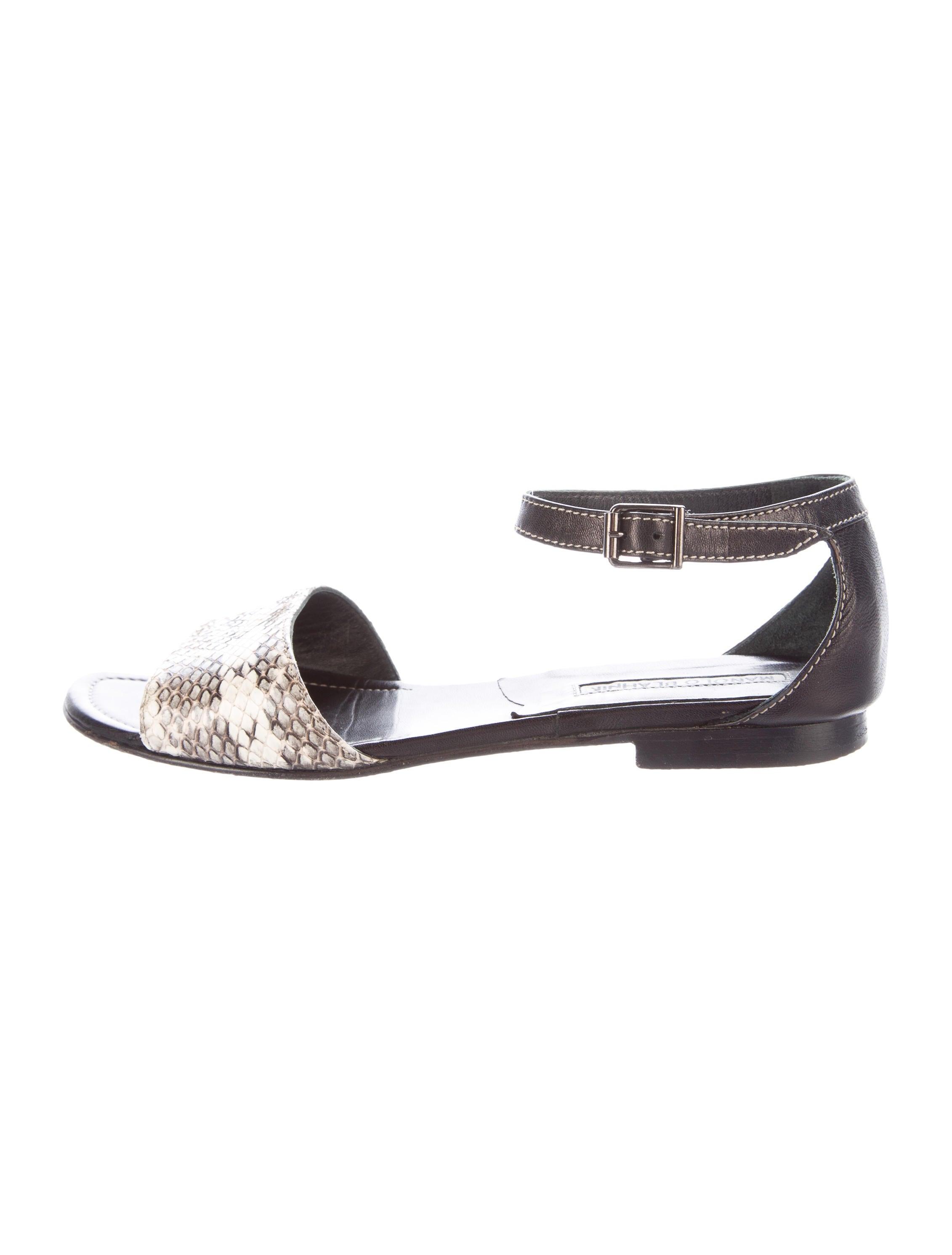 Manolo blahnik snakeskin flat sandals shoes moo60959 for Shoes by manolo blahnik