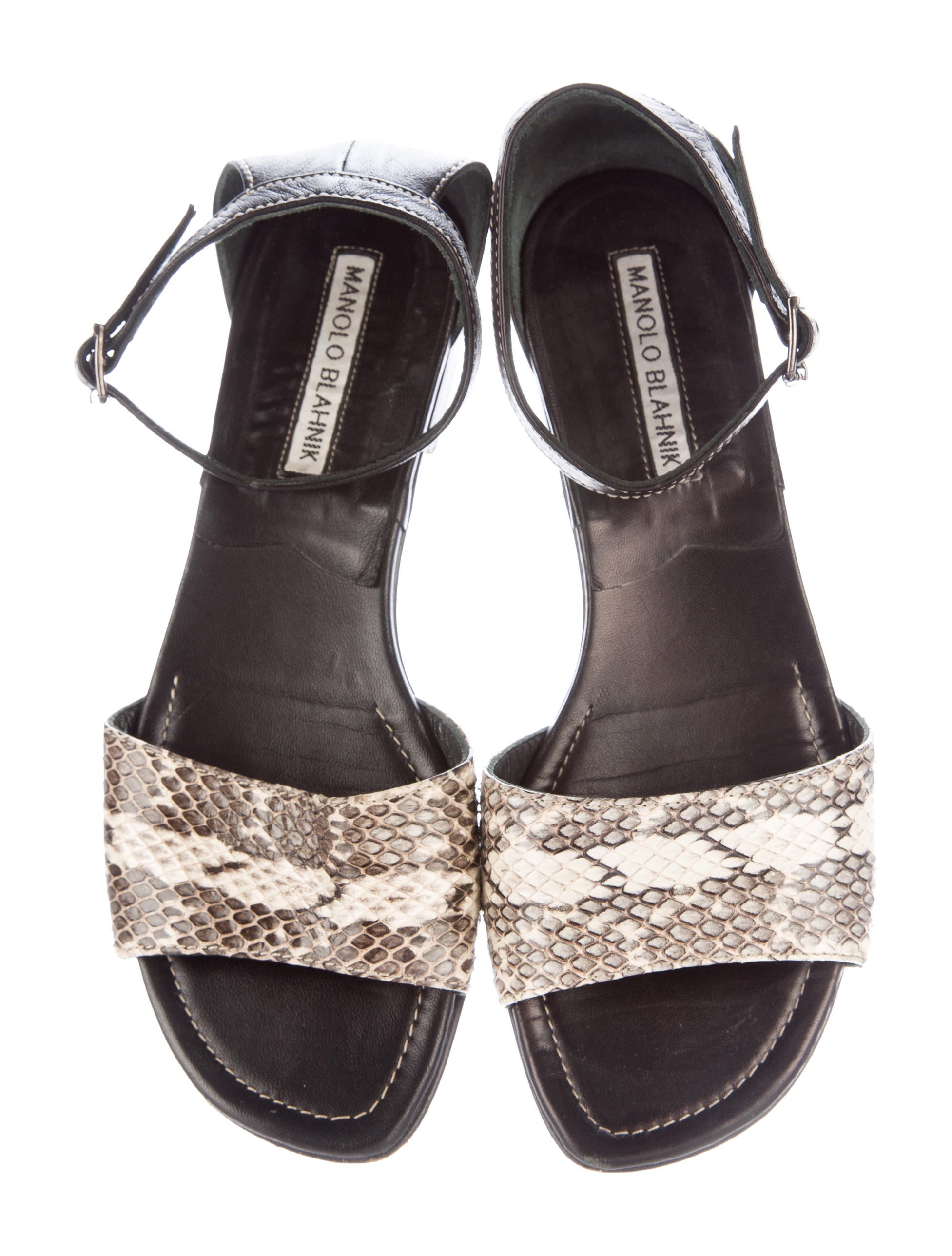 Manolo Blahnik Snakeskin Flat Sandals Shoes Moo60959