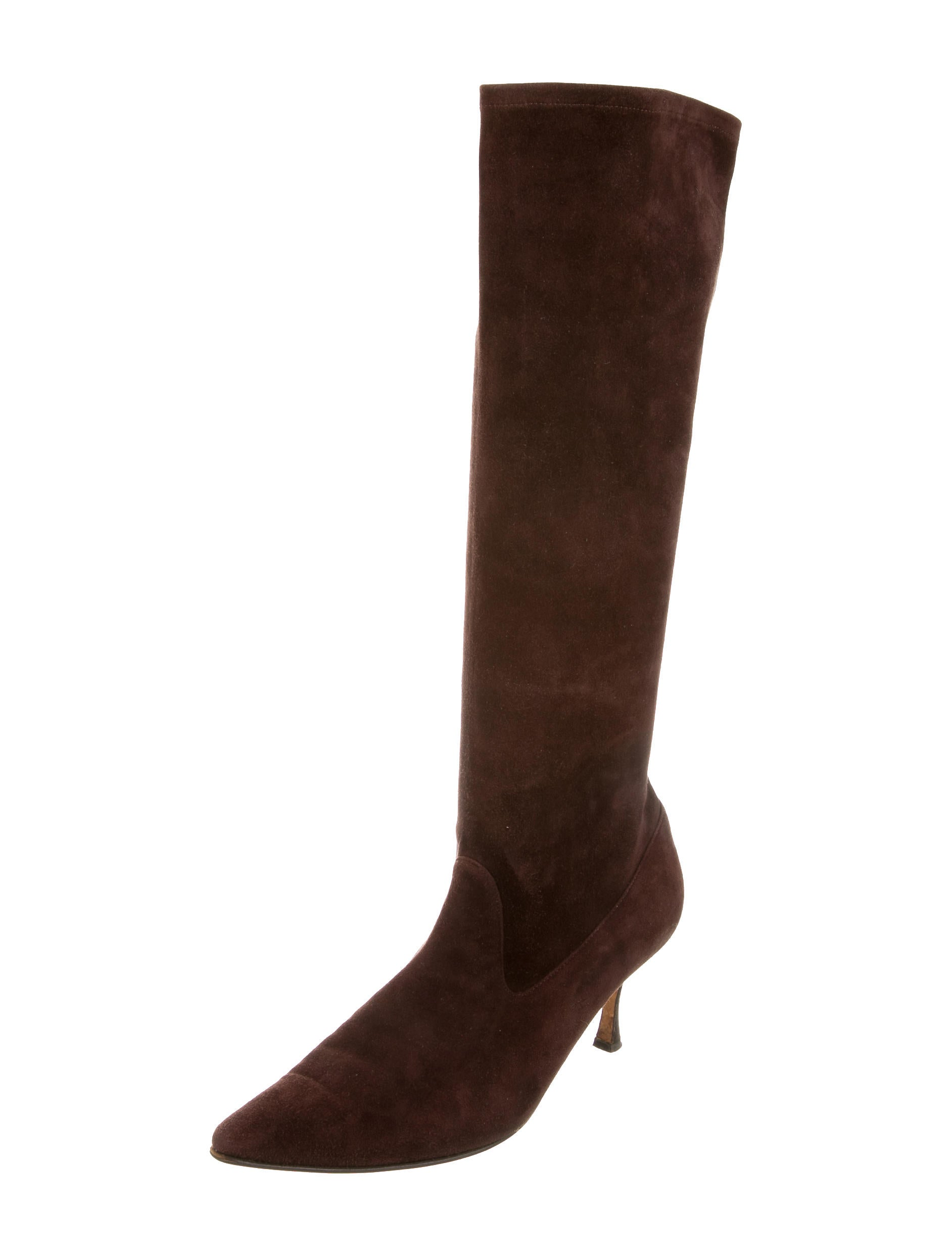 manolo blahnik suede pointed toe boots shoes moo61064