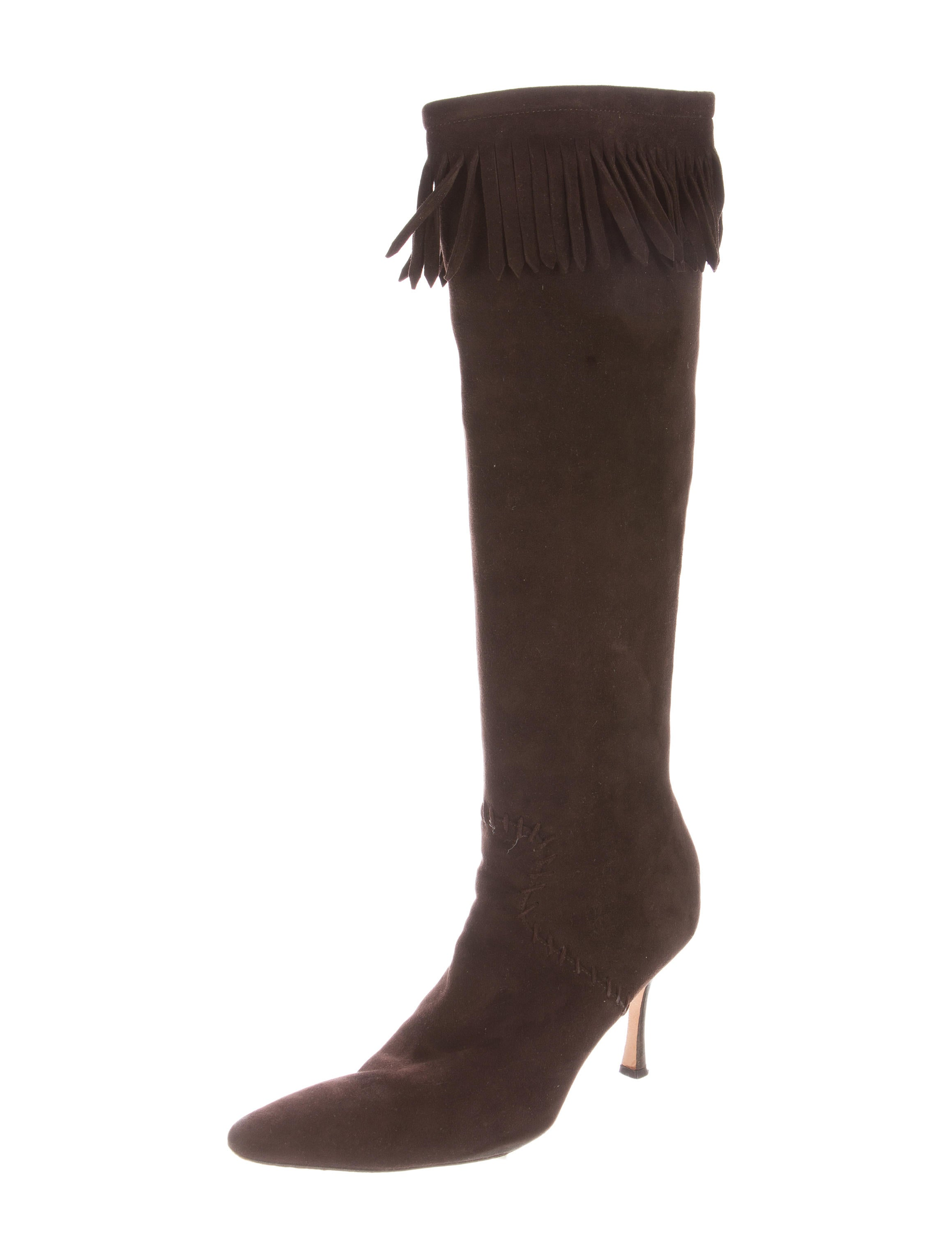 manolo blahnik fringe trimmed knee high boots shoes