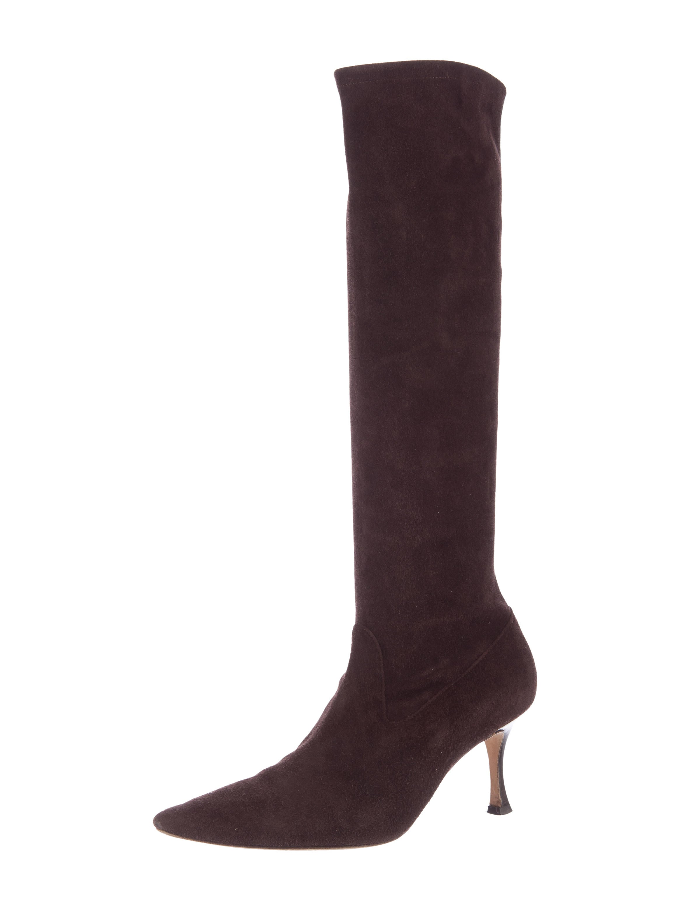 manolo blahnik pointed toe suede boots shoes moo61179