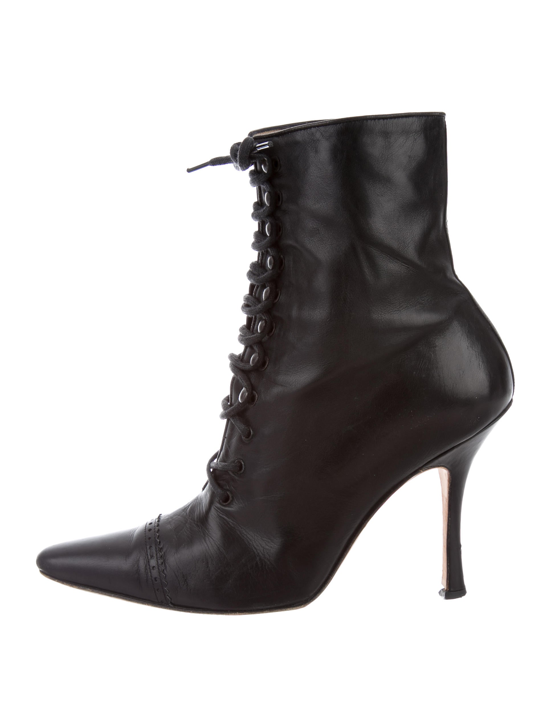 Manolo Blahnik Leather Ankle Boots - Shoes - MOO61968 ...