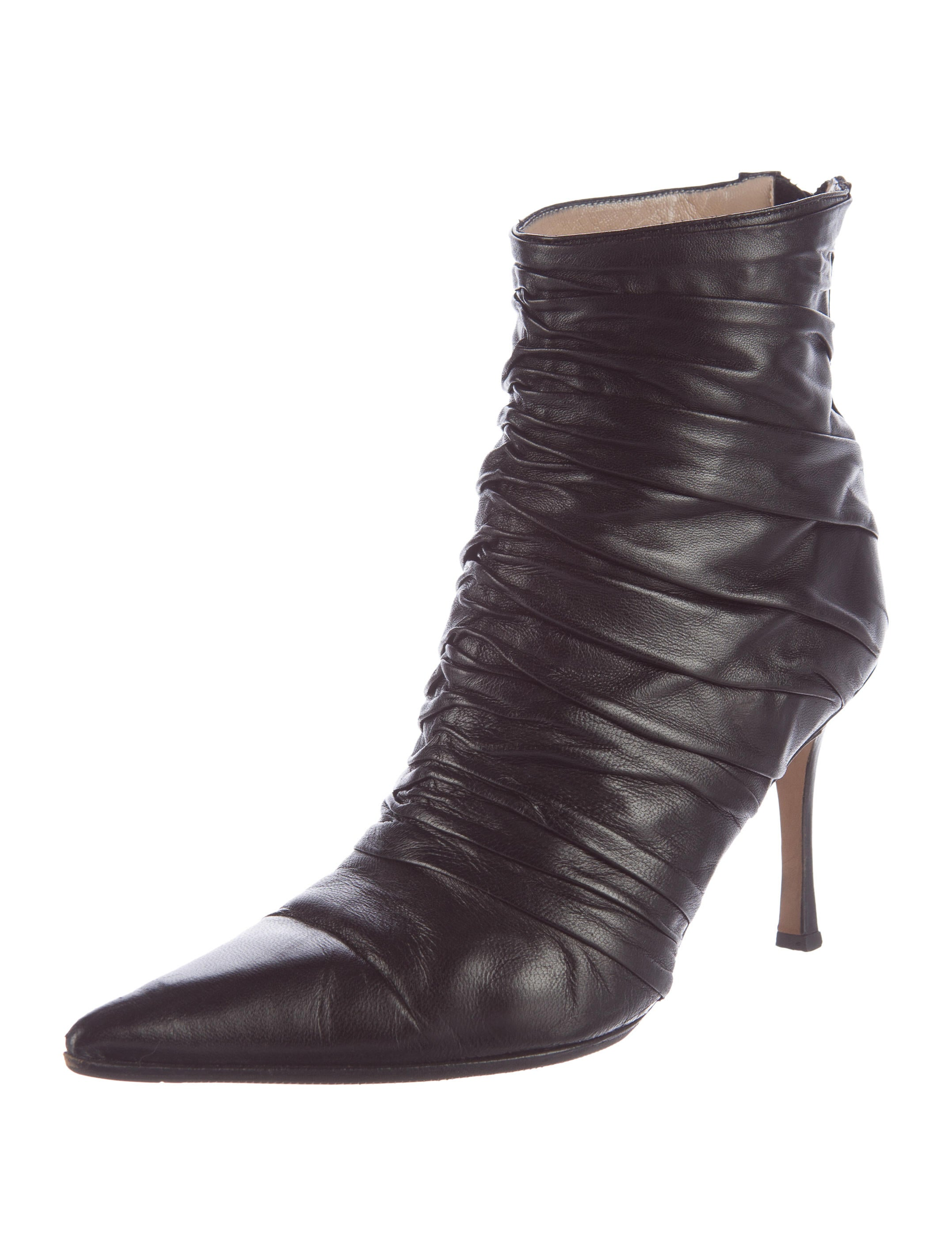 Manolo Blahnik Ruched Leather Ankle Boots - Shoes ...