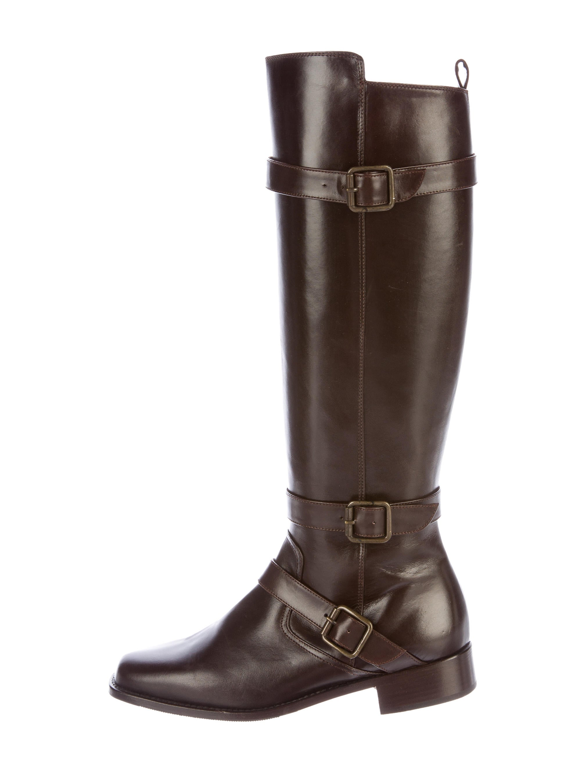 manolo blahnik buckle accented knee high boots shoes