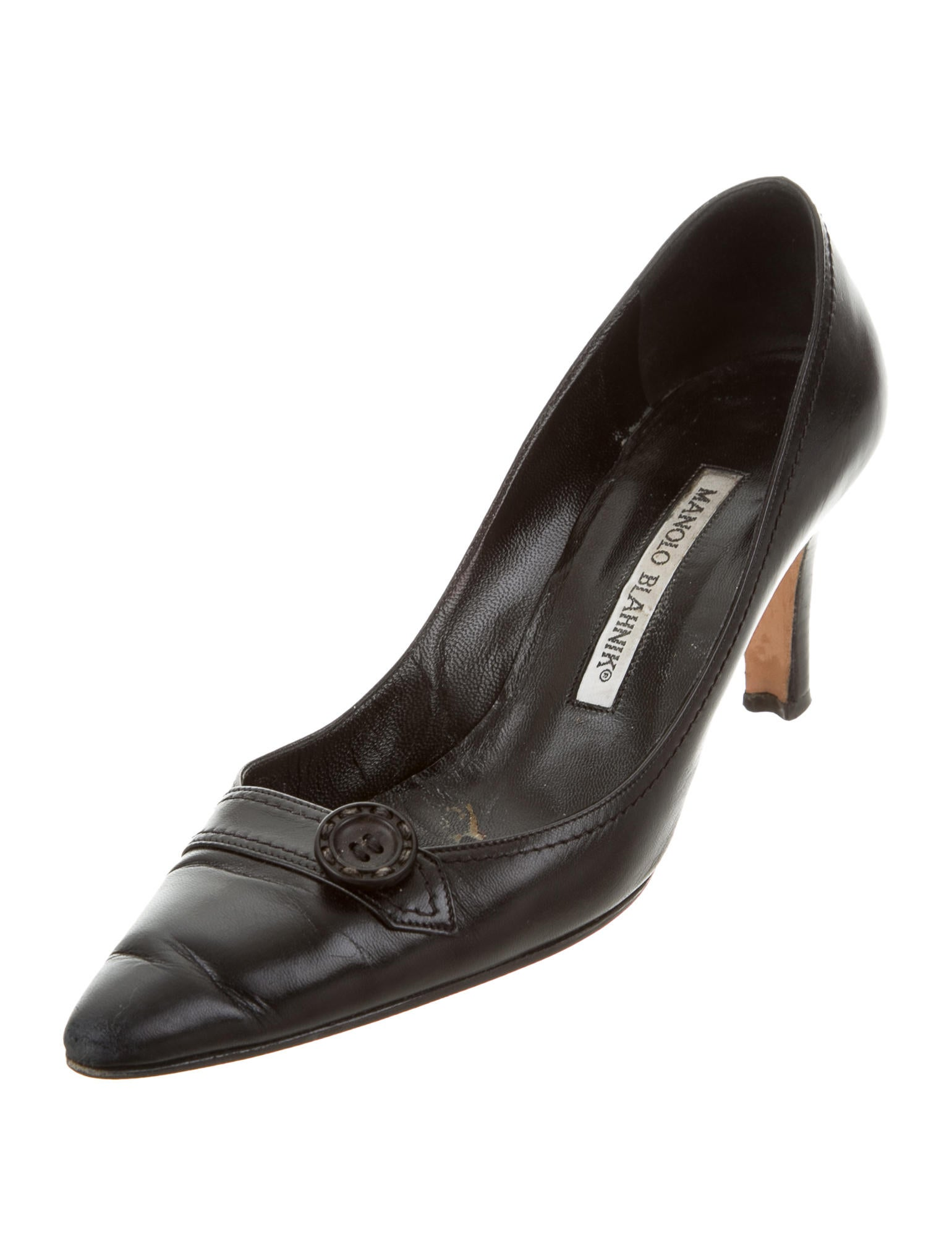Manolo blahnik leather pointed toe pumps shoes for Shoes by manolo blahnik