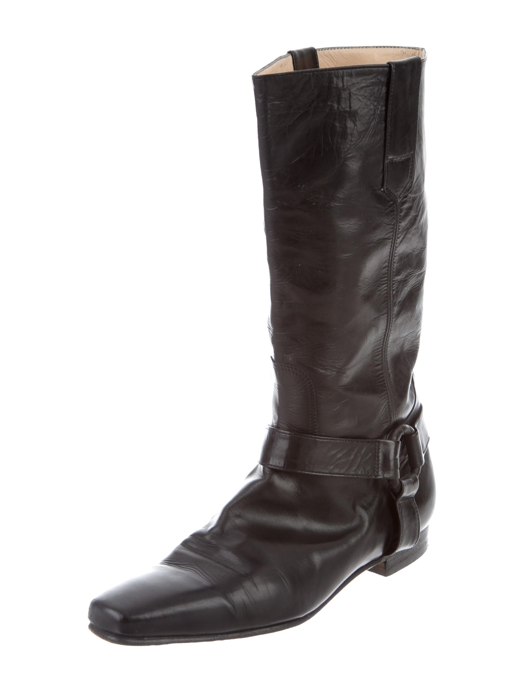 Manolo Blahnik Leather Harness Ankle Boots - Shoes ...