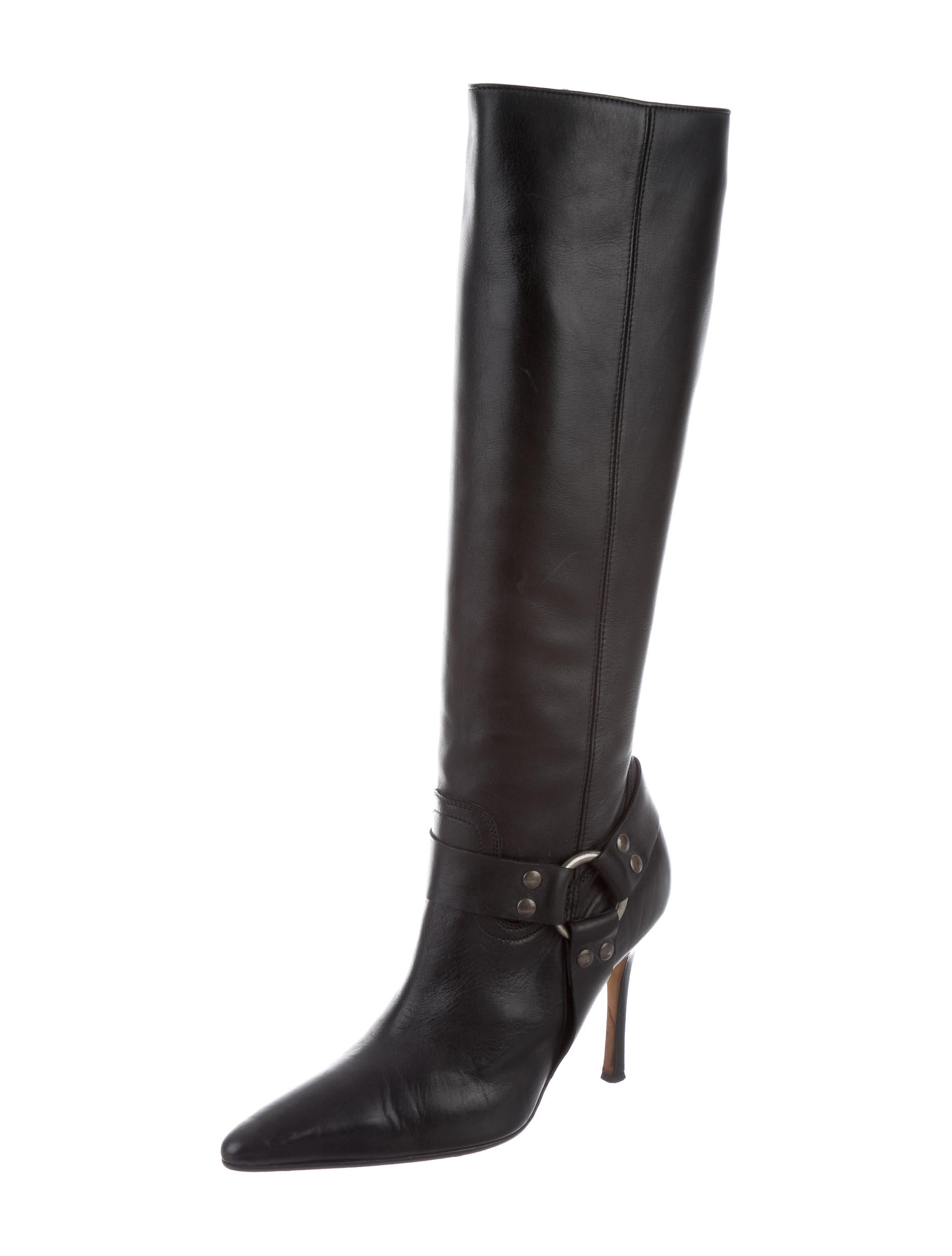 manolo blahnik leather knee high boots shoes moo62216
