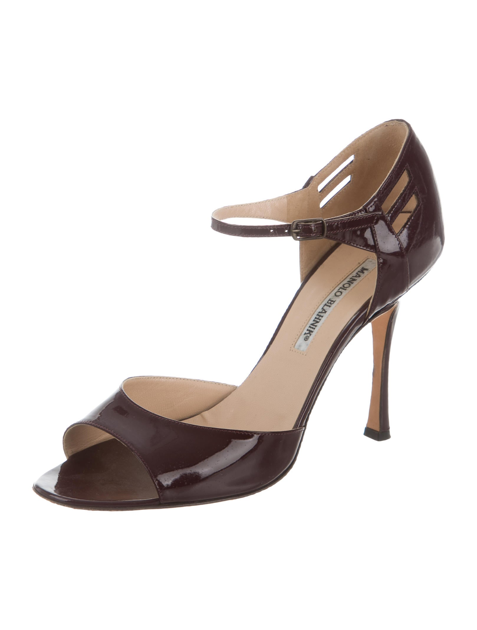 Manolo blahnik patent leather ankle strap sandals shoes for Shoes by manolo blahnik
