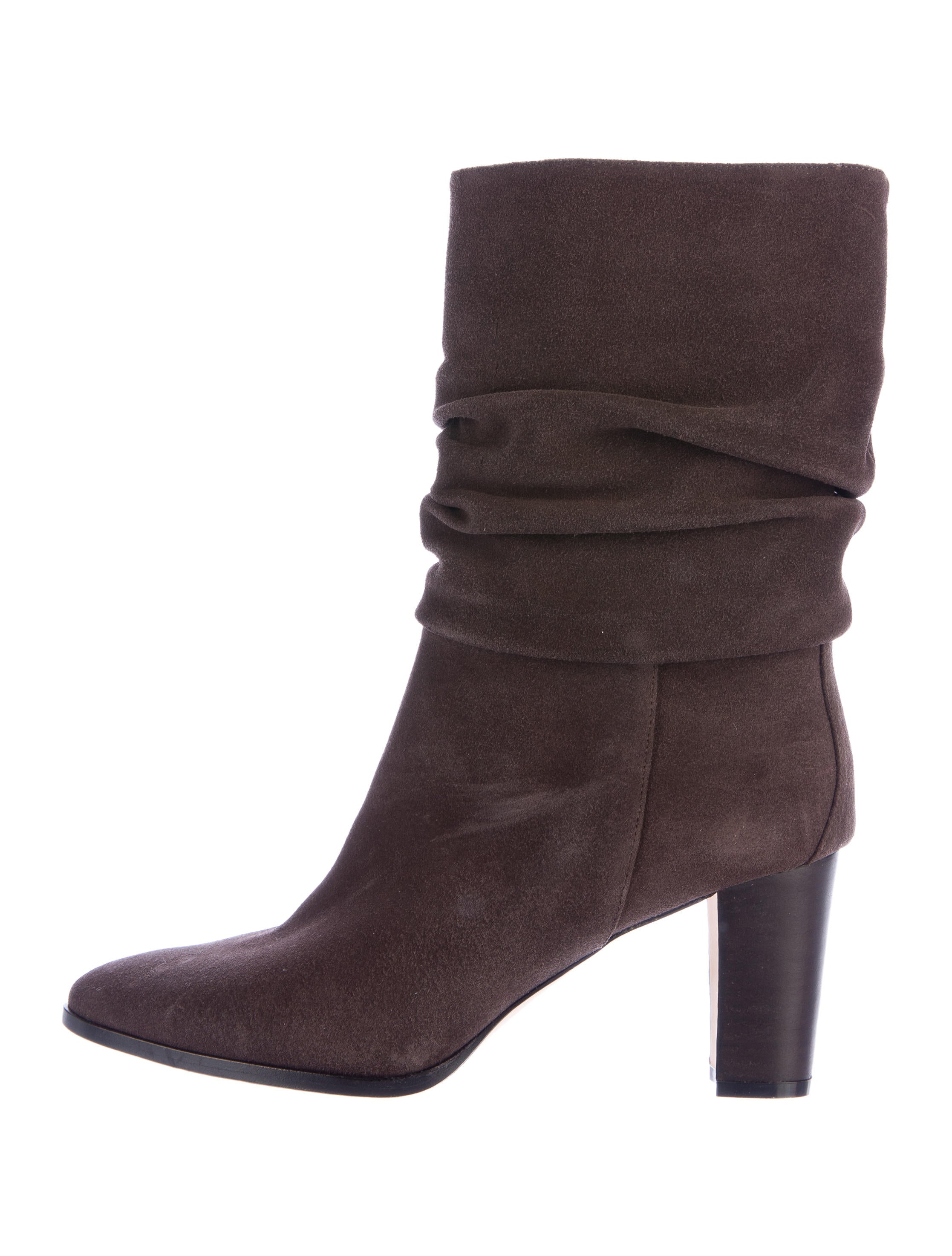 manolo blahnik ruched suede ankle boots shoes moo62920
