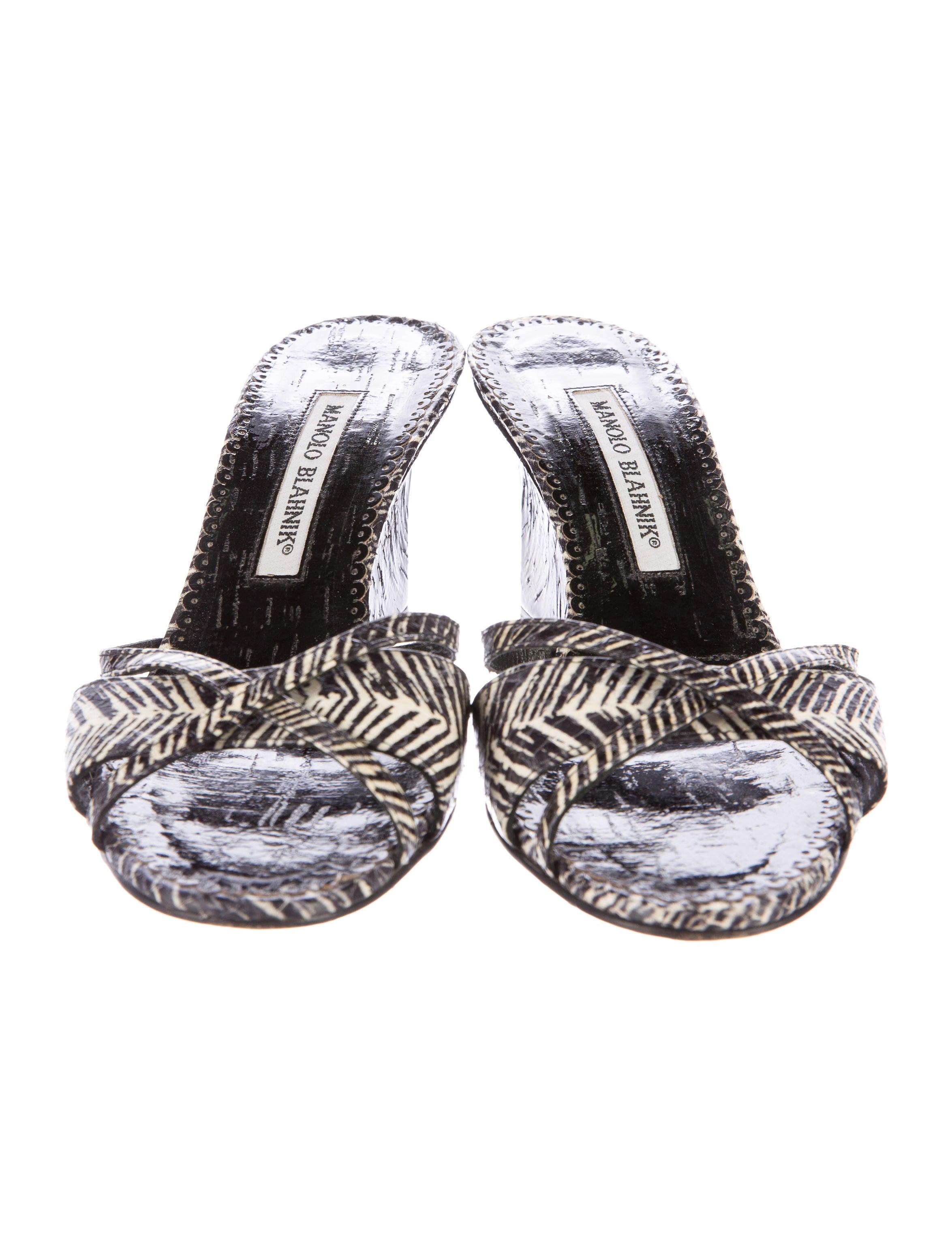 manolo blahnik zebra printed wedge sandals shoes