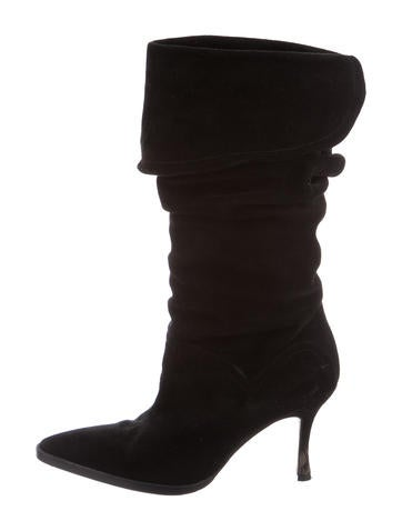 manolo blahnik ruched suede boots shoes moo63306 the