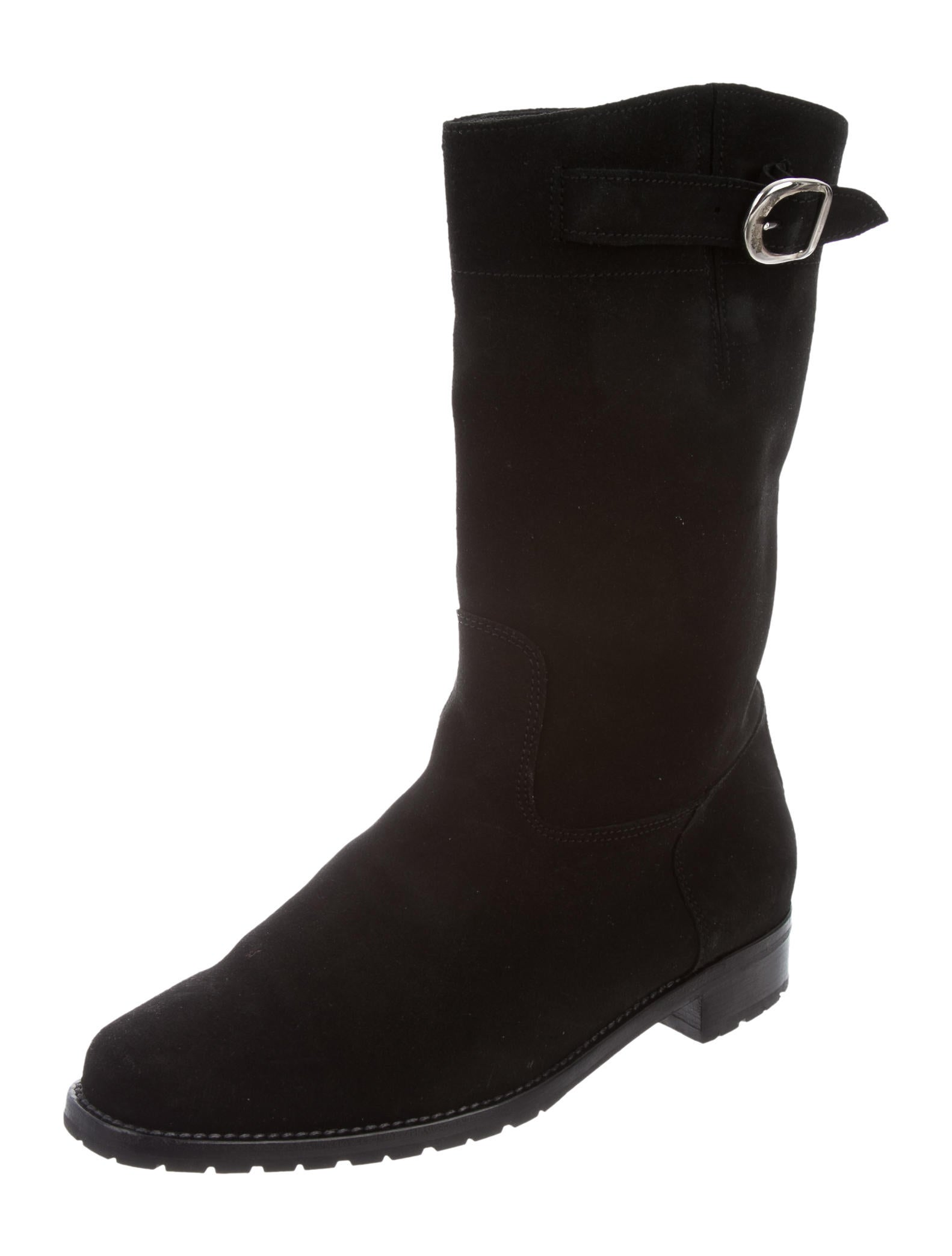 manolo blahnik suede mid calf boots shoes moo68731