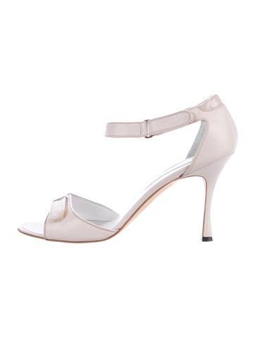 Manolo Blahnik Leather Velcro Sandals None