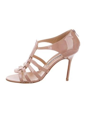 Manolo Blahnik Patent Leather Multistrap Sandals None