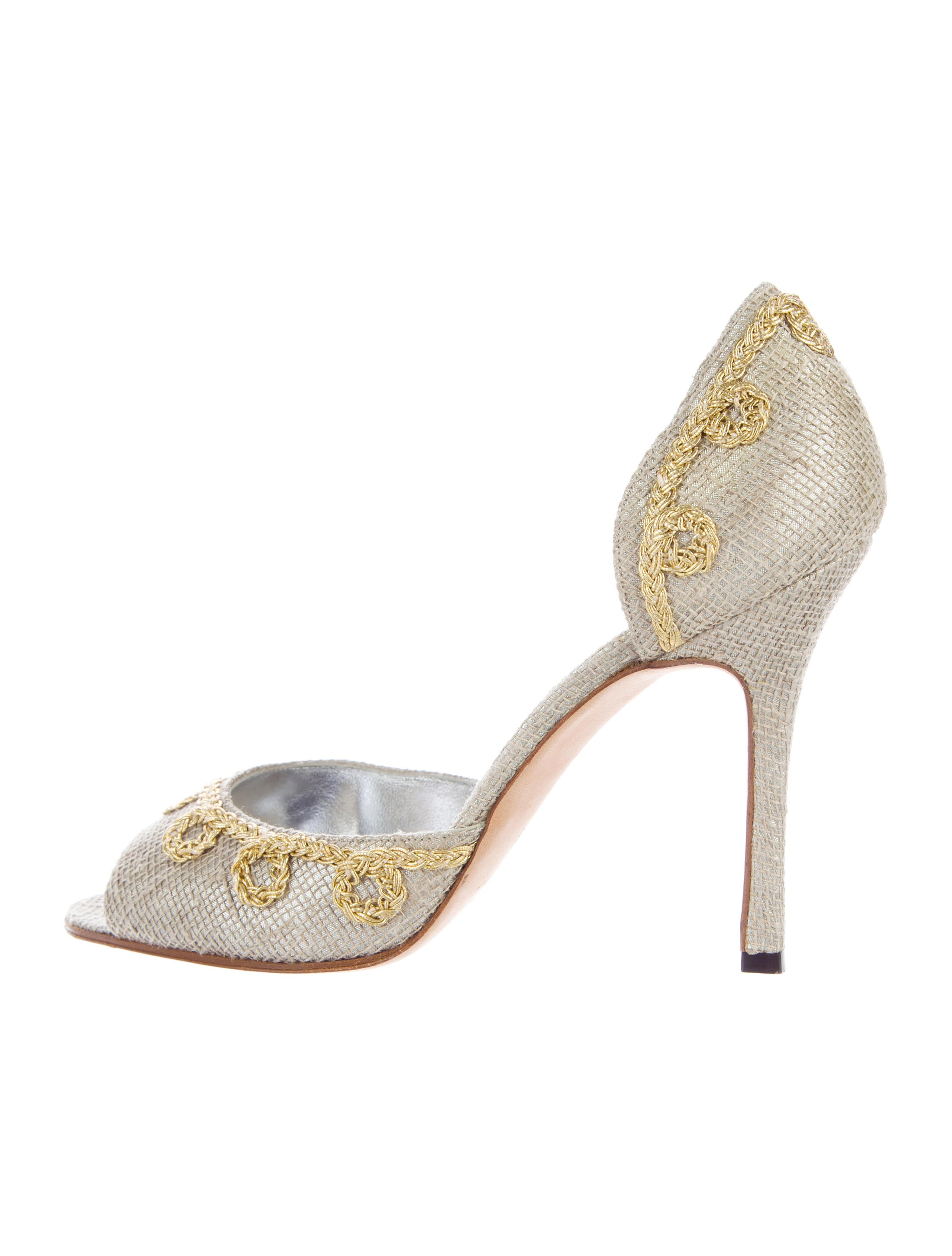 clearance sale online Manolo Blahnik Woven d'Orsay Pumps outlet collections RobDsl2UZo