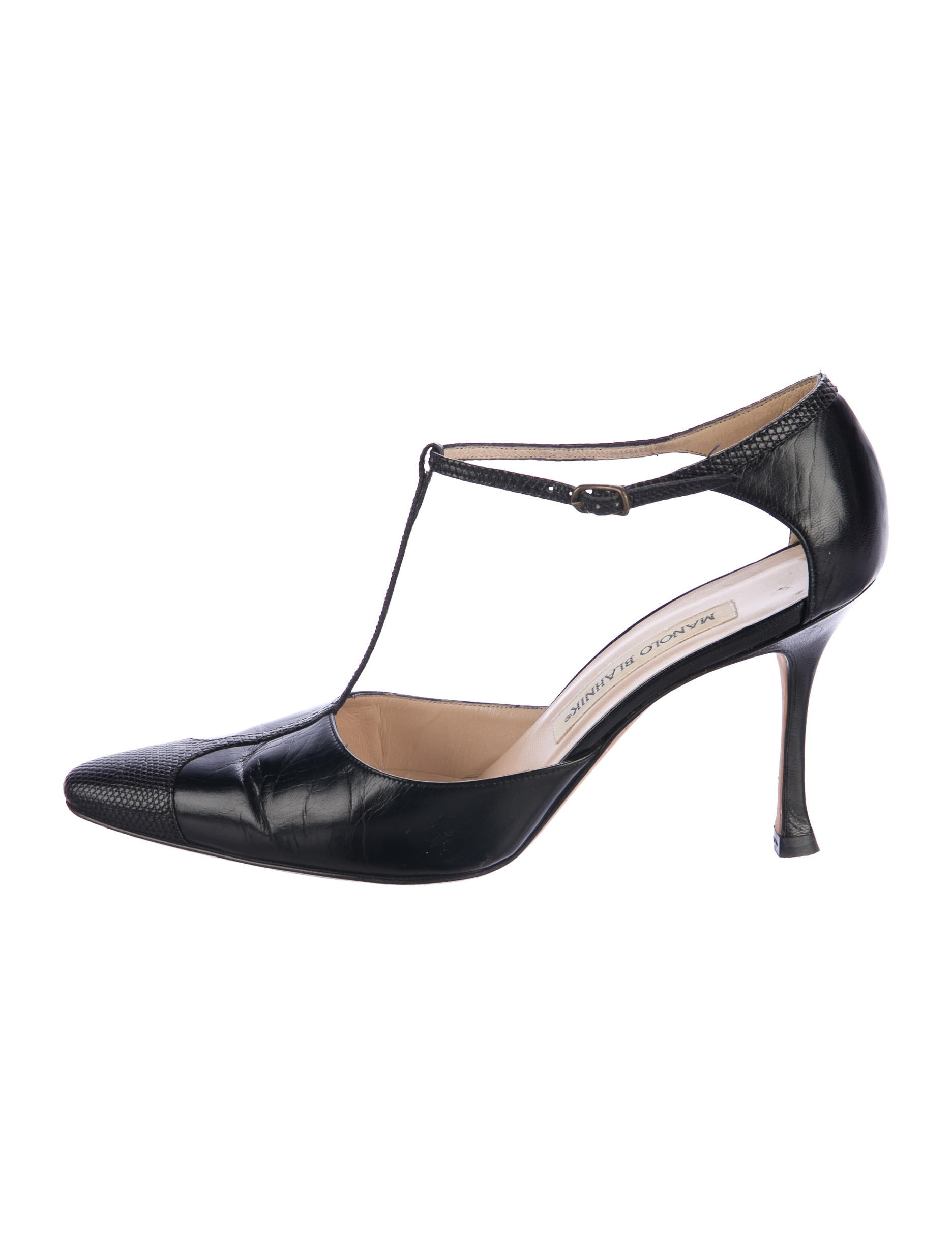 Manolo Blahnik Lizard-Trimmed T-Strap Pumps outlet cheap price EHG09n2tF