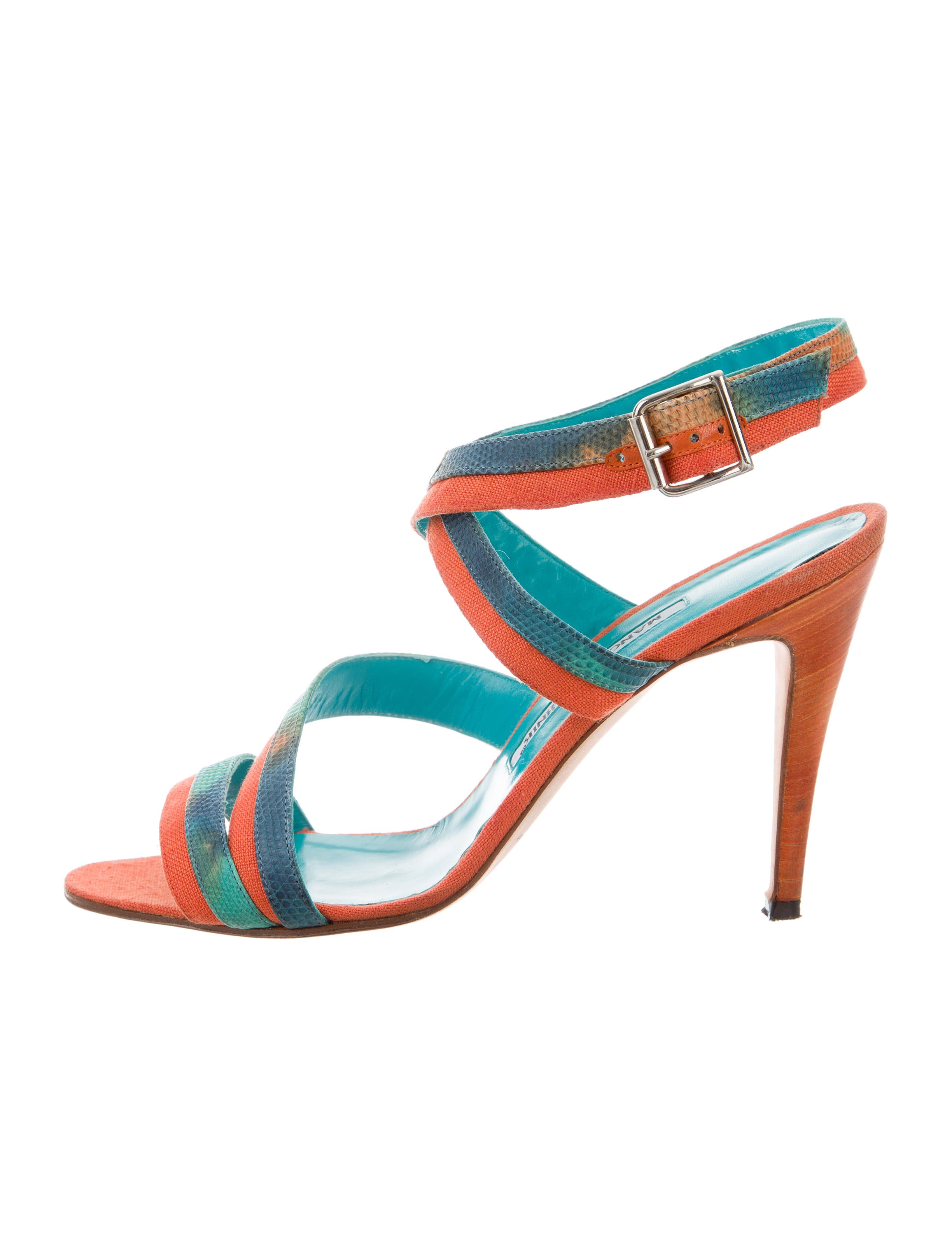Manolo Blahnik Karung-Accented Multistrap Sandals buy cheap for nice outlet locations online 2VJFnf8p